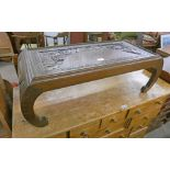 ORIENTAL CARVED HARDWOOD LOW TABLE WITH SHAPED SUPPORTS 30CM TALL