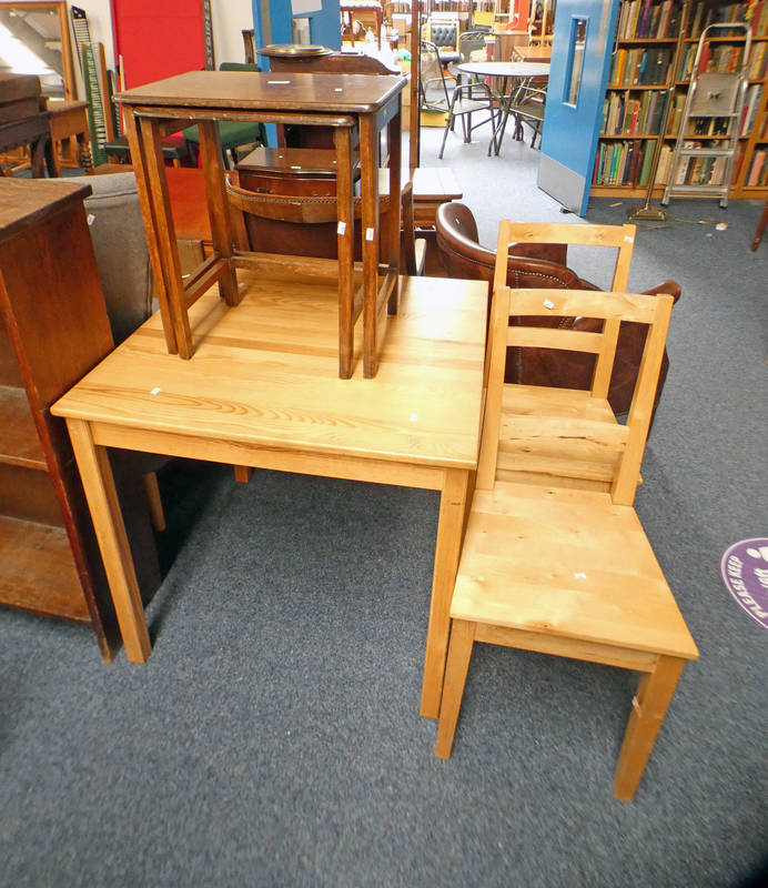 PINE KITCHEN TABLE, PAIR OF CHAIRS,
