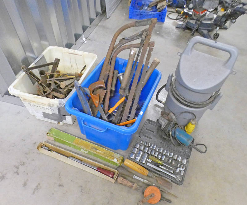 SOCKET WRENCH WITH VARIOUS SOCKETS, BOX OF VARIOUS WOOD WORKING TOOLS INCLUDING CHISELS, PUNCHES,