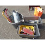 VARIETY OF SAWS, TILE CUTTER, SPANNER, ETC IN ONE BOX, VARIETY OF CHISELS, G-CLAMPS, RASPS,