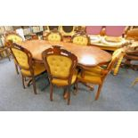 WALNUT TWIN PEDESTAL TABLE WITH DECORATIVE INLAY & SHAPED TOP LENGTH 198CM & SET OF 6 WALNUT FRAMED