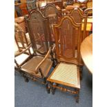 SET OF 4 EARLY 20TH CENTURY WALNUT DINING CHAIRS INCLUDING 2 ARMCHAIRS WITH BERGERE SEAT & BACK