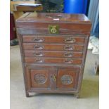 ORIENTAL HARDWOOD CUTLERY CABINET Condition Report: The dimensions of this item