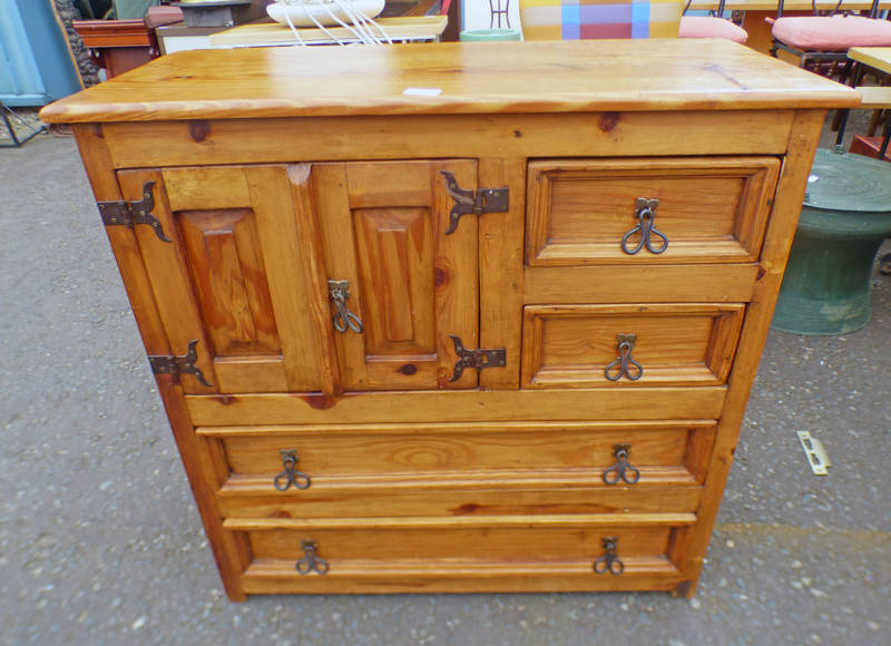 PINE CABINET WITH 2 PANEL DOORS & 4 DRAWERS