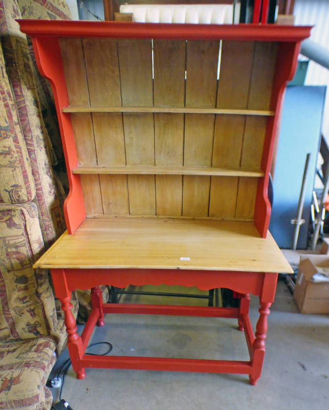 PAINTED OAK SIDE TABLE WITH DRESSER BACK
