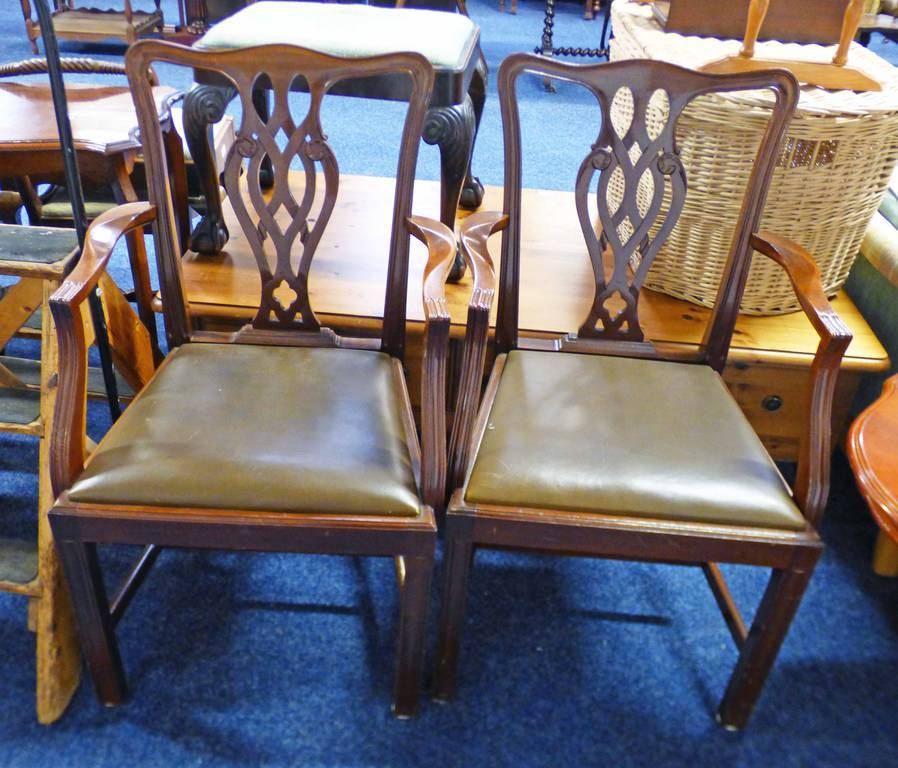 PAIR OF LATE 19TH OR EARLY 20TH CENTURY MAHOGANY ARMCHAIRS