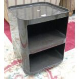 20TH CENTURY BROWN PLASTIC 2 TIER BEDSIDE TABLE/TROLLEY MARKED KARTELL-BINASCO DESIGNER ANNA