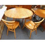 ERCOL BEECH BLOND DROPLEAF DINING TABLE & SET OF 4 ERCOL DINING CHAIRS