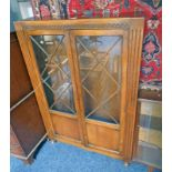 OAK CABINET WITH 2 ASTRAGAL GLASS DOORS,
