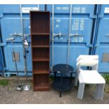 ADJUSTABLE BOOKCASE, ADJUSTABLE METAL STANDARD LAMP AND ONE OTHER,