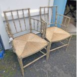 PAIR OF BAMBOO OPEN ARMCHAIRS WITH RUSH SEATS