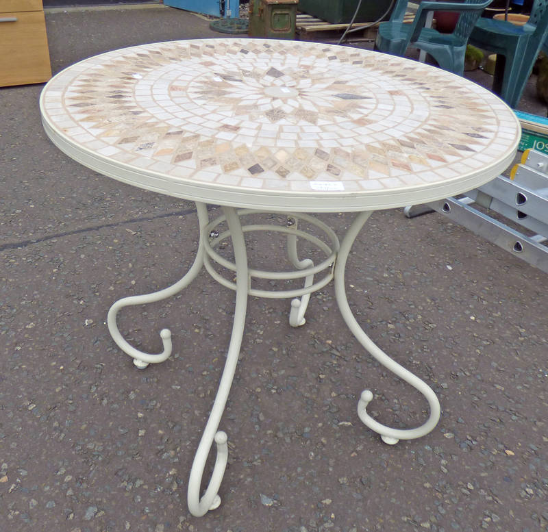 METAL GARDEN TABLE WITH TILE MOSAIC IN TOP,