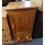 PINE BEDSIDE CABINET WITH PANEL DOOR OVER 2 DRAWERS 86CM TALL