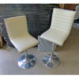 PAIR OF CHROME AND LEATHER RISE AND FALL BAR STOOLS