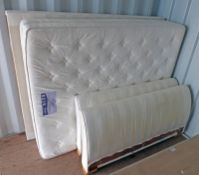 STRIPED FABRIC DOUBLE BED FRAME WITH MATTRESS WIDTH 155CM