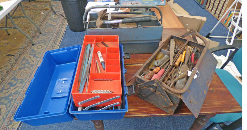 3 TOOL BOXES WITH VARIOUS HAND TOOLS, DRILL BITS,