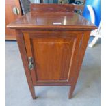 MAHOGANY BEDSIDE CABINET WITH BOXWOOD INLAY AND SINGLE PANEL DOOR ON SQUARE SUPPORTS