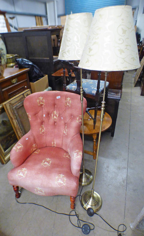 BUTTON BACK BEDROOM CHAIR,