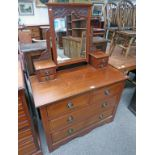 MAHOGANY DRESSING TABLE WITH MIRROR AND 4 DRAWERS OVER BASE OF 2 SHORT OVER 2 LONG DRAWERS ON