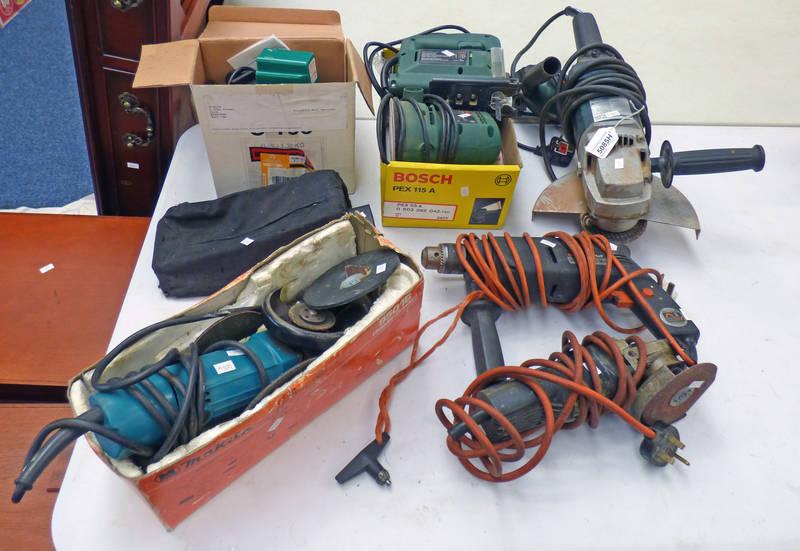 METABO ANGLE GRINDER, MAKITA 9501B (SANDER-GRINDER), BOSCH PEX115A SANDER WITH DISCS,