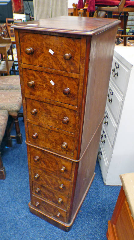 19TH CENTURY WALNUT EFFECT CHEST OF DRAWERS WITH 8 DRAWERS ON PLINTH BASE,