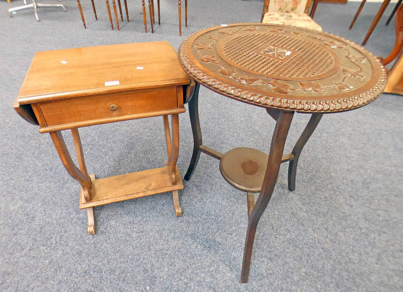 MAHOGANY SIDE TABLE WITH SINGLE DRAWER AND 2 LEAVES WIDTH 50CM AND CARVED MAHOGANY CIRCULAR TABLE