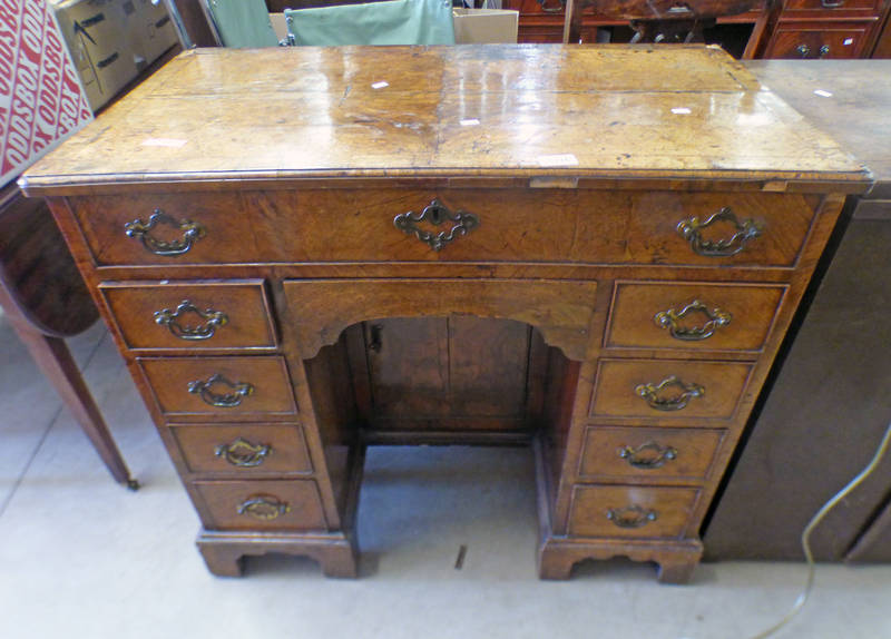 LATE 18TH EARLY 19TH CENTURY WALNUT DESK WITH SINGLE FRIEZE DRAWER OVER 8 DRAWERS,