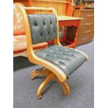 21ST CENTURY GREEN LEATHER BUTTON BACK SWIVEL OFFICE CHAIR