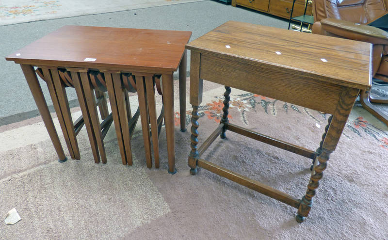 TEAK NEST OF 5 TABLES AND OAK TABLE ON BARLEY TWIST SUPPORTS