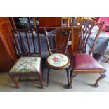 MAHOGANY DINING CHAIR ON BALL & CLAW SUPPORTS,