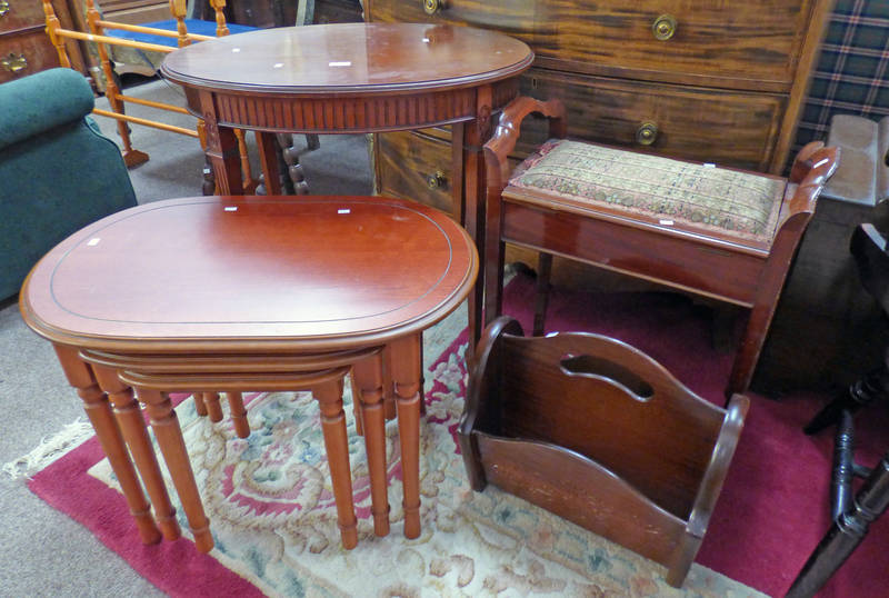 EARLY 20TH CENTURY MAHOGANY DRESSING TABLE STOOL, OVAL OCCASIONAL TABLE, NEST TABLES,