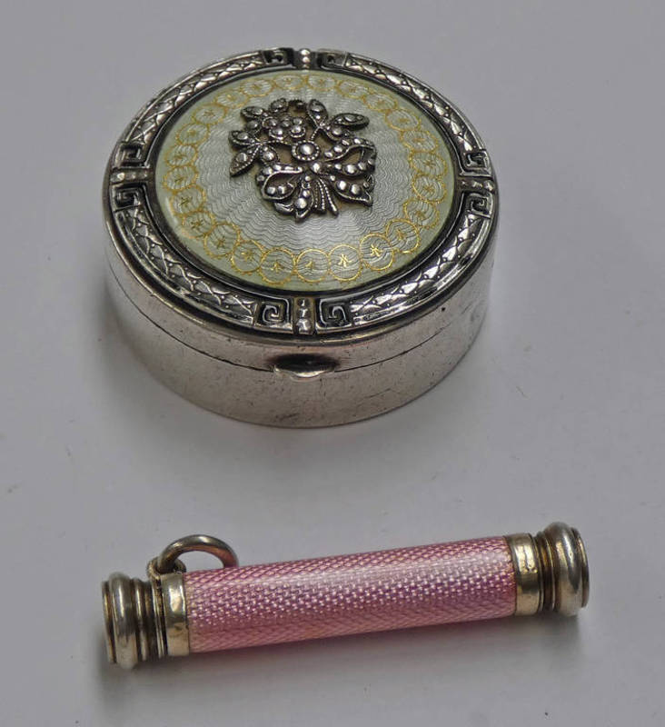 MID 20TH CENTURY AUSTRIAN SILVER CIRCULAR PILL BOX WITH ENAMEL DECORATION & A PINK ENAMEL CASED