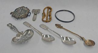 PAIR RUSSIAN SILVER TEASPOONS DATED 1878, STERLING SILVER CADDY SPOON, GILT METAL SNAKE BUCKLE,