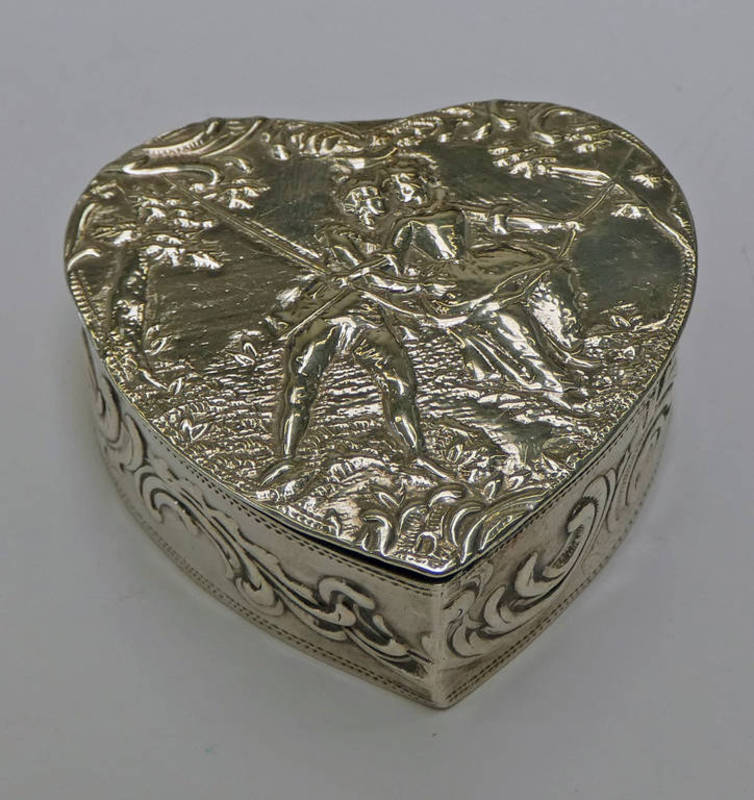 DUTCH SILVER HEART SHAPED TRINKET BOX EMBOSSED WITH COURTING COUPLE ON A SWING,