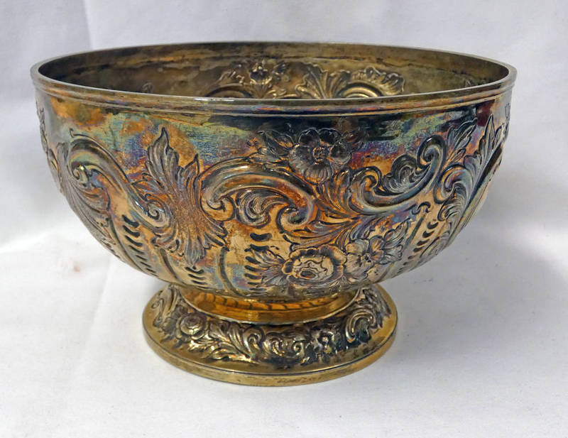 VICTORIAN SILVER ROSE BOWL WITH FLORAL EMBOSSED DECORATION,
