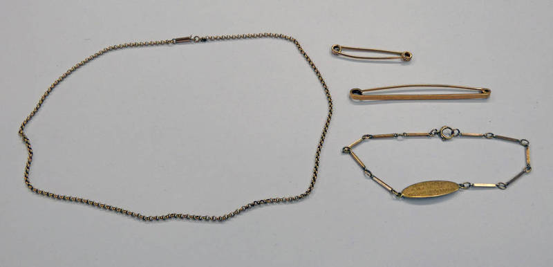 2 9CT GOLD BROOCHES, 9CT GOLD CHAIN & 9CT GOLD I.D BRACELET - 25.