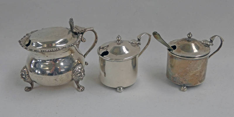 SILVER MUSTARD POT WITH BLUE GLASS LINER ON LIONS PAW FEET RETAILED BY HARRODS,