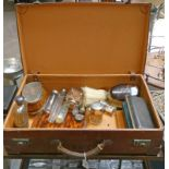 LEATHER SUITCASE WITH VARIOUS SILVER TOPPED AND OTHER JARS, SILVER BACKED BRUSHES,