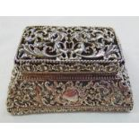 SILVER DOUBLE STAMP BOX MARKED STERLING WITH FLORAL PIERCED WORK DECORATION