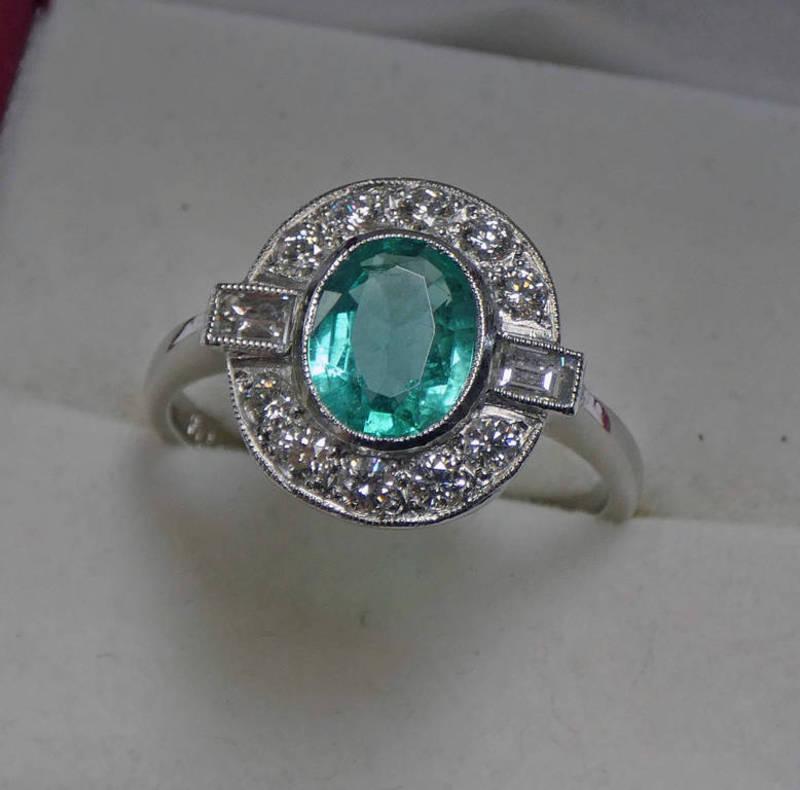 PLATINUM SET EMERALD & DIAMOND CLUSTER RING,