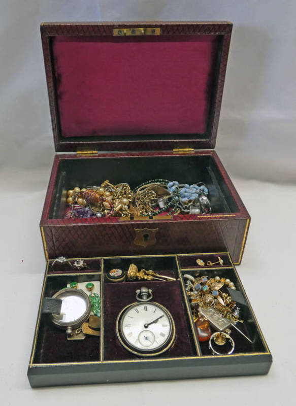 RED LEATHER JEWELLERY BOX BY REID 582 OXFORD STREET & CONTENTS OF JEWELLERY INCLUDING 19TH CENTURY