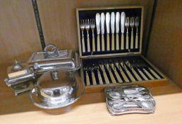 CASED SET OF 12 FISH KNIVES & FORKS, TEA CADDY, LIDDED TUREEN ETC SET OF 9 SILVER SPOONS,