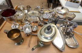 LARGE SELECTION OF VARIOUS SILVER PLATED WARE INCLUDING WINE SIFTERS,