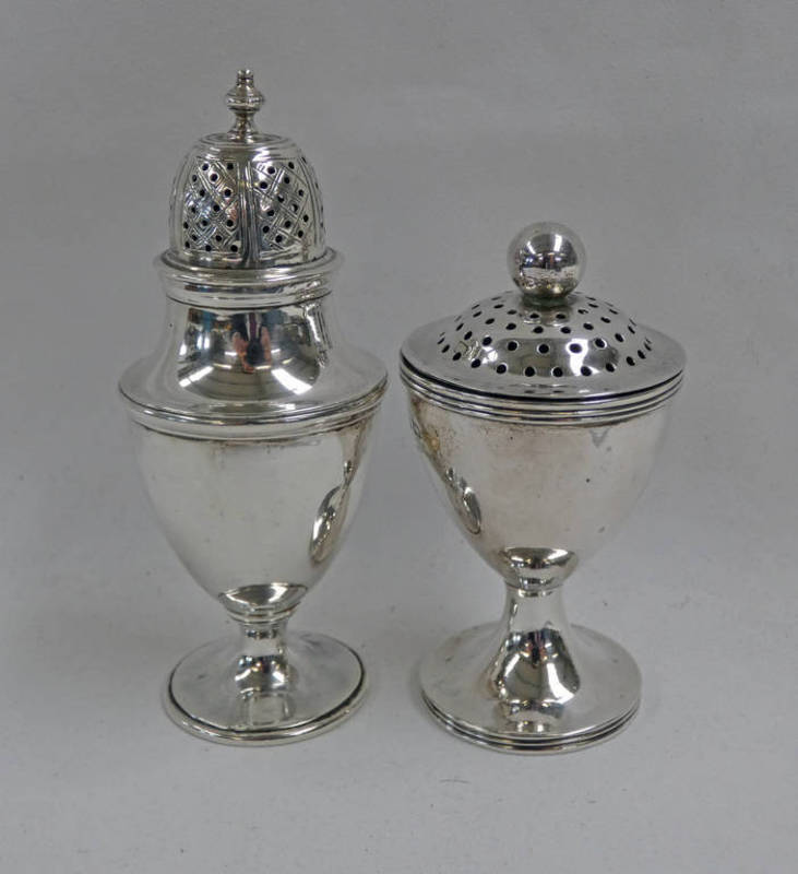 GEORGE III SILVER CASTOR CIRCA 1800 & 1 OTHER - 135G