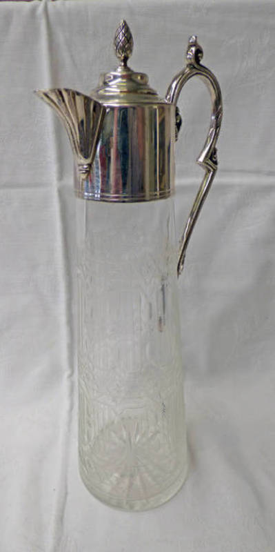 SILVER MOUNTED ETCHED GLASS CLARET JUG WITH ENGRAVED DECORATION
