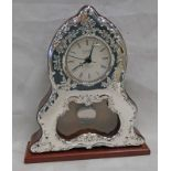 925 SILVER MOUNTED MAHOGANY MANTLE CLOCK - 26CM TALL