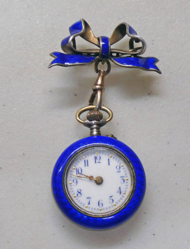 ENAMELLED FOB WATCH WITH RIBBON BOW BROOCH,
