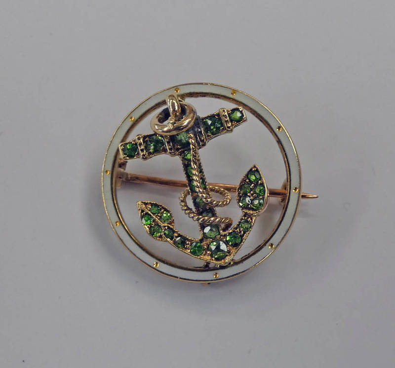 EARLY 20TH CENTURY ENAMEL & PERIDOT FOULED ANCHOR YELLOW METAL BROOCH Condition Report: