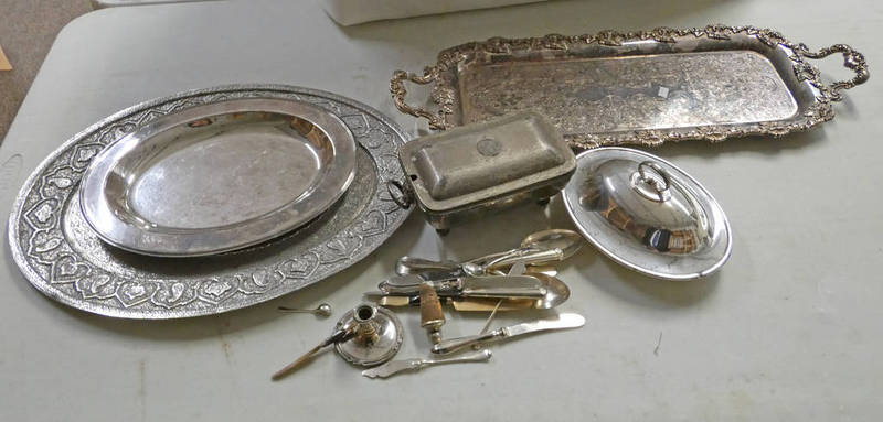 2 INDIAN SILVER PLATED OVAL TRAYS, LARGEST 47.