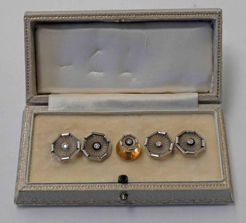 PAIR OF OCTAGONAL DIAMOND & ROCK CRYSTAL CUFFLINKS WITH MATCHING STUD,
